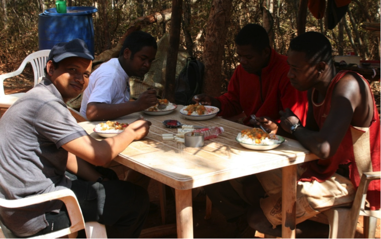 Researchers and camp staff enjoy lunch together at the Ankoatsifaka Research Station.