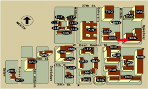 Map of the north-west quadrant of UT campus