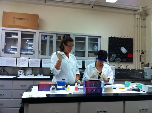 Emily and Kristie practicing pipetting skills.