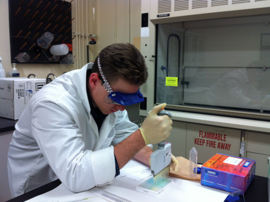 Sean concentrating on pipetting techniques using a Salimetrics kit.